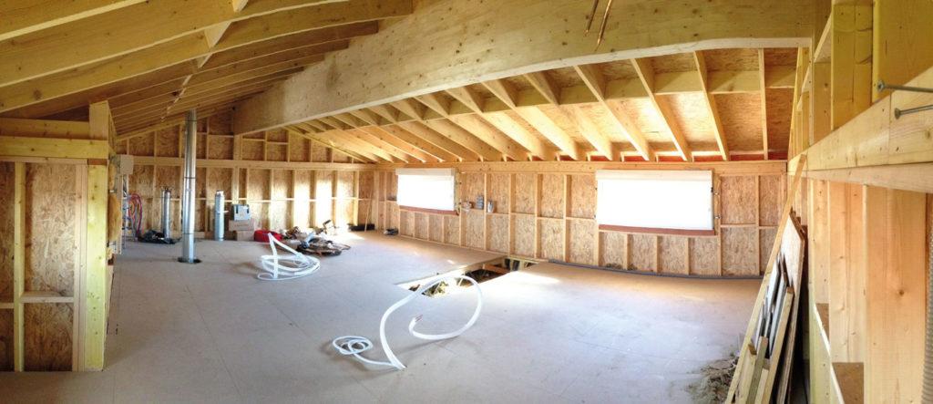 intérieur chantier surélévation à Merville