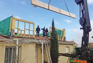 chantier surélévation à Merville